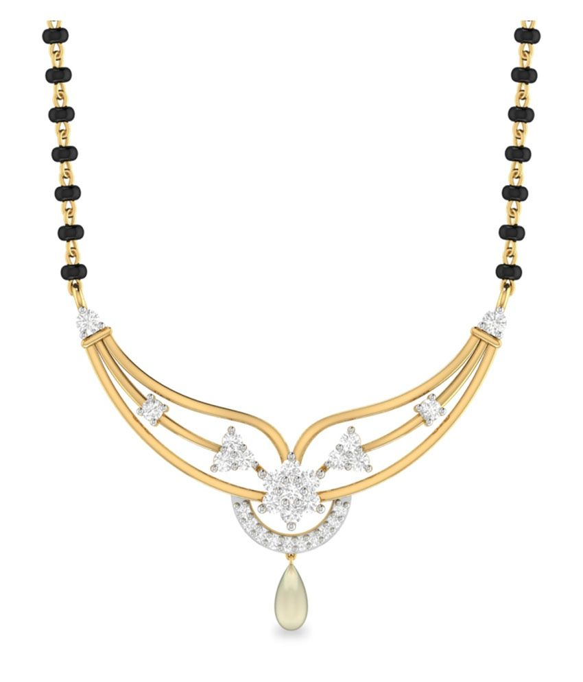 WearYourShine PC Jeweller 18KT Gold The Nithiya Diamond & Pearl Mangalsutra