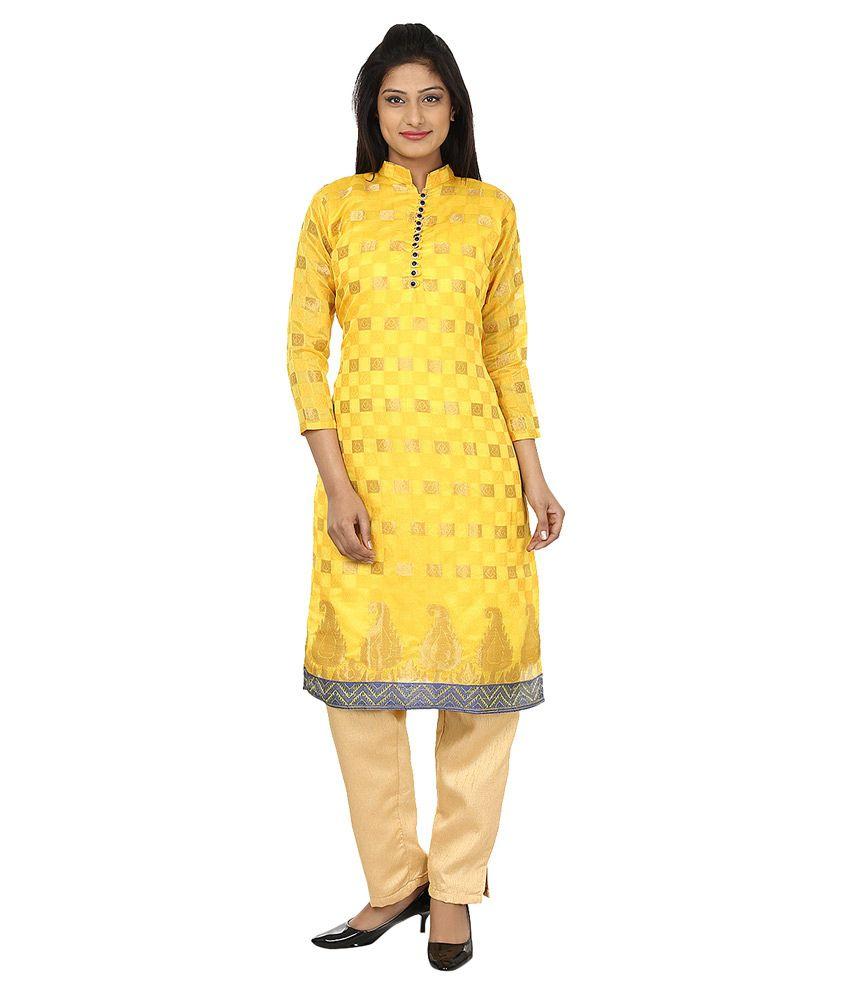 Darshita Yellow Art Silk Kurti
