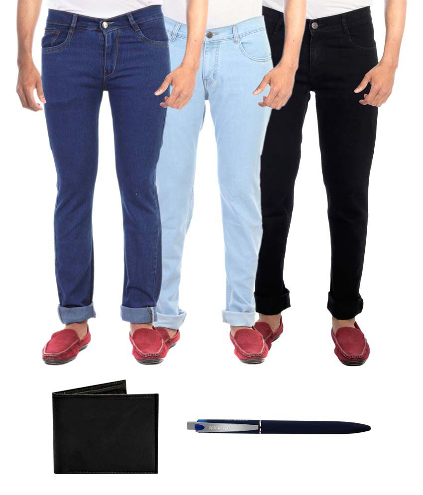 Faithful Multicolor Regular Fit Jeans - Pack of 3