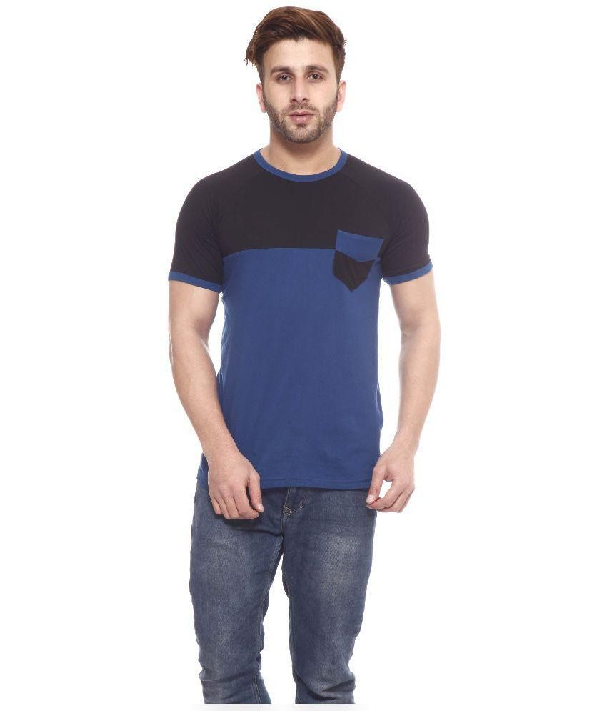 Gritstones Black and Blue Cotton T-Shirt