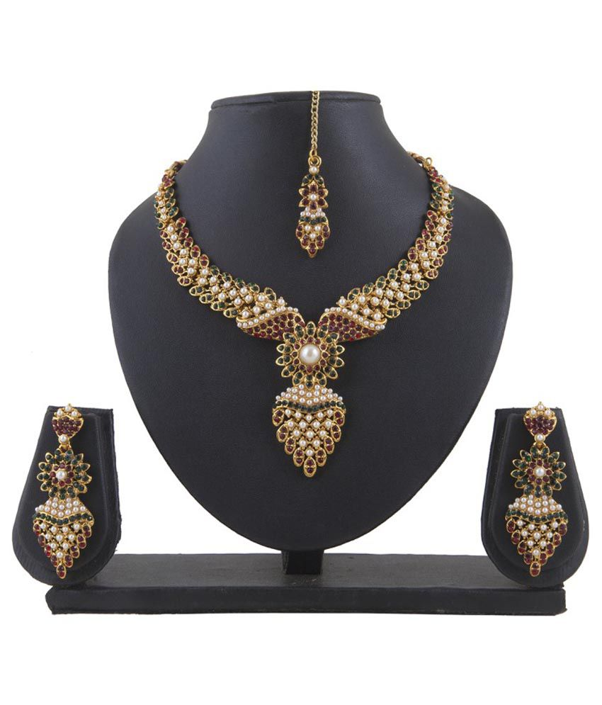 Inaya Multicolour Brass Necklace Set With Maang Tika