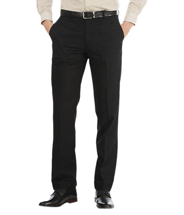 K Magnum Apparels Black Regular Fit Formal Flat Trouser