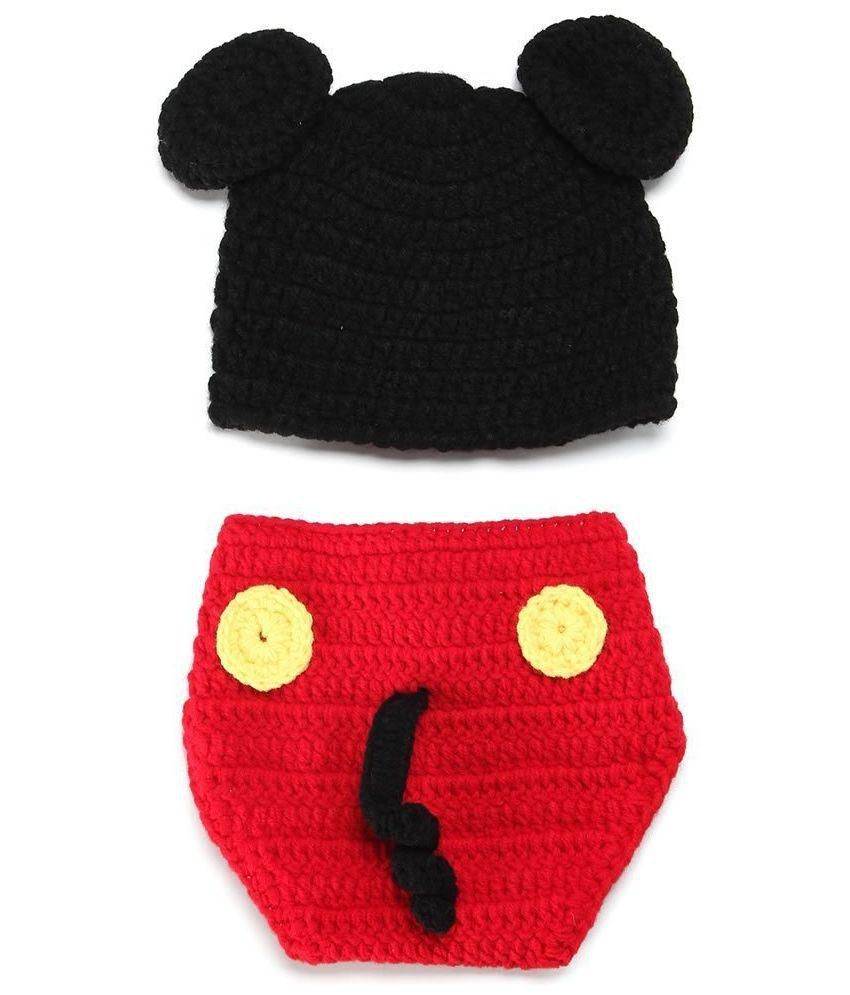 Kuhu Creations Multicolour Mickey Mouse Wool Knit Costume For Infants