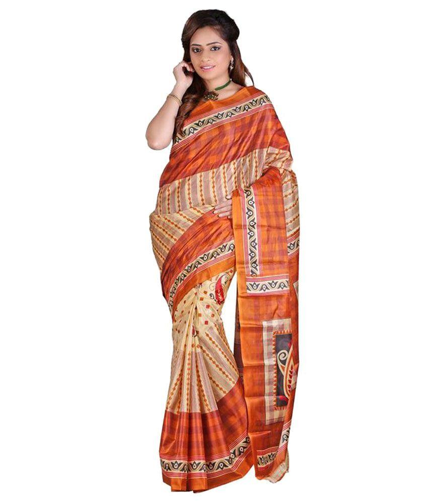 Madhav Fashion Orange Art Silk Saree