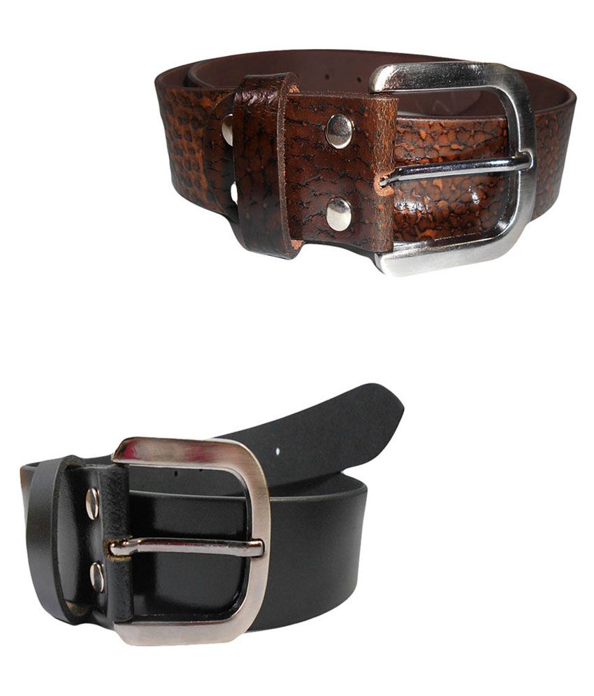 Psychovest Black Leather Belt Set Of 2