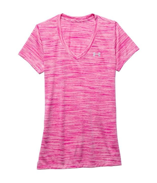 Under Armour Pink and Blue Women's Tech Space Dye V-Neck T-Shirts (Pack of 2)