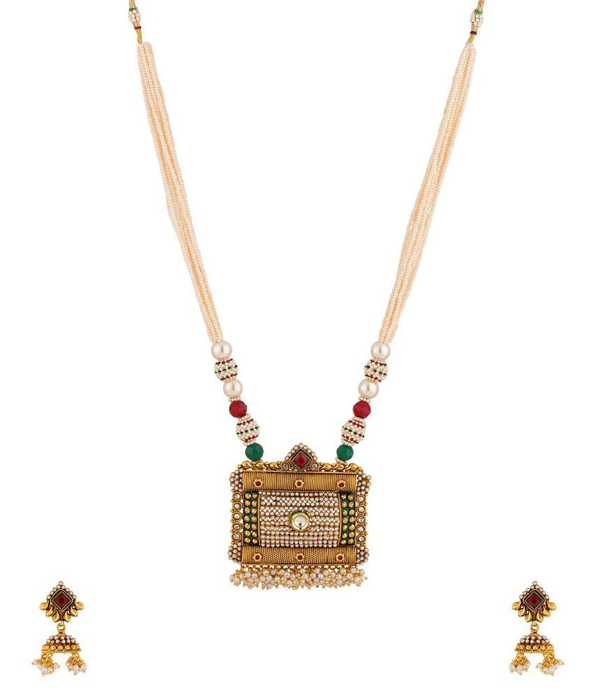 Voylla Golden Alloy Cz Necklace Set