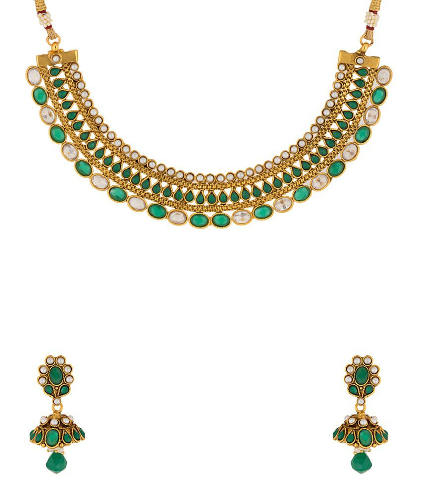 Voylla Golden Alloy Pearl Necklace Set