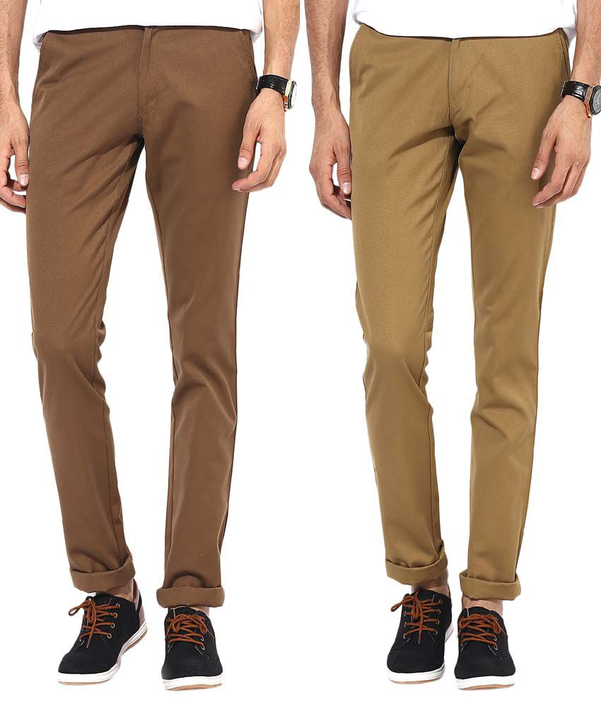 Bukkl Combo Of Khakhi And Dark Brown Slim Fit Casual Chinos