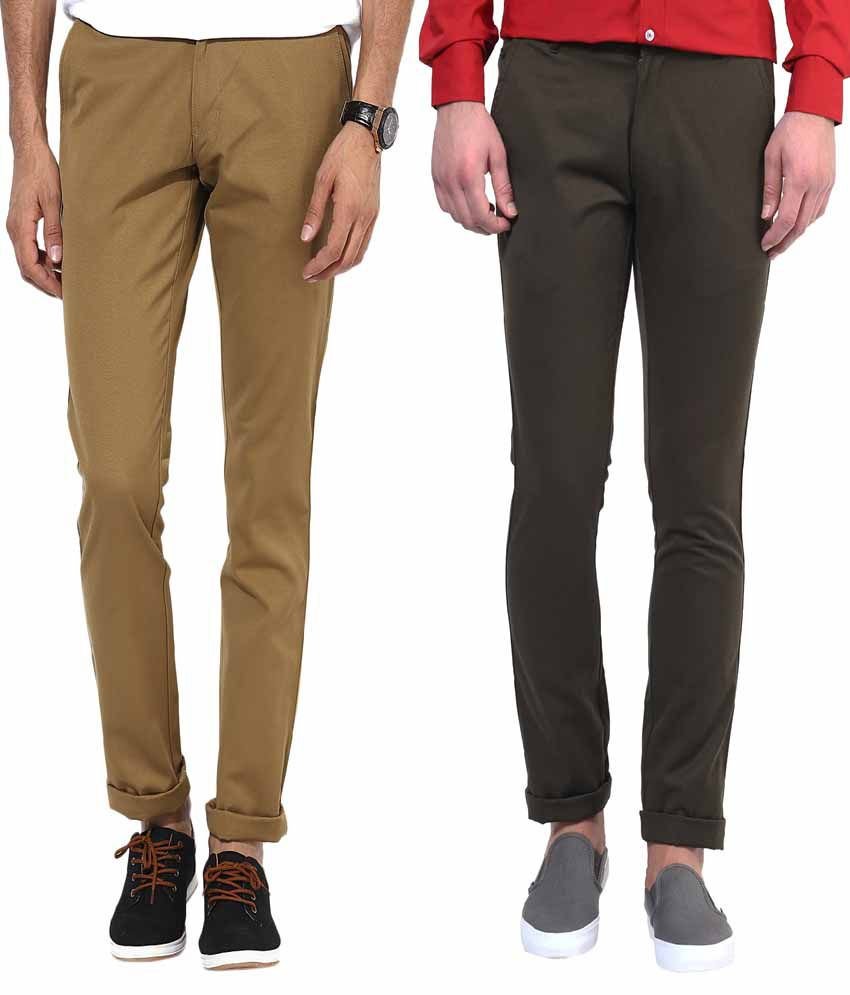 Bukkl Combo Of Khaki And Olive Slim Fit Casual Chinos - Pack of 2