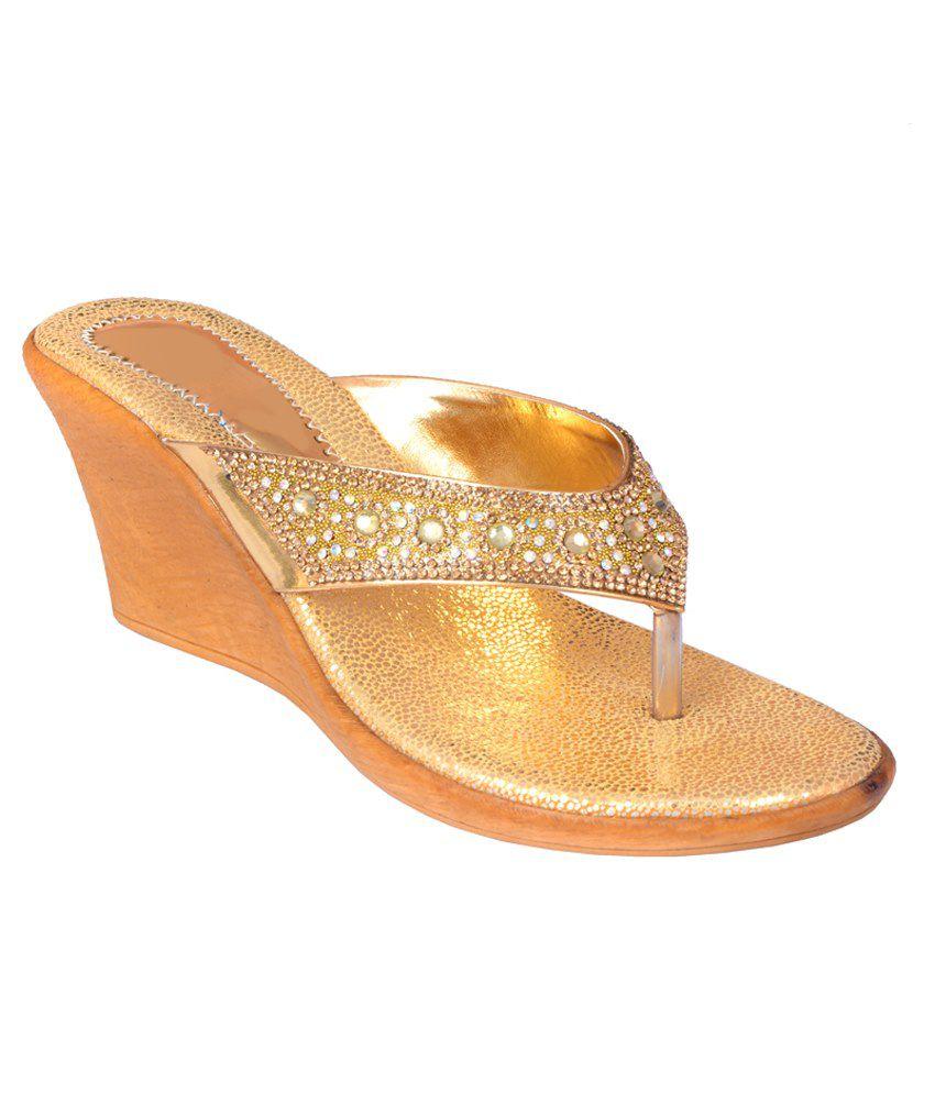 Indian-diva Golden Heeled Slip Ons