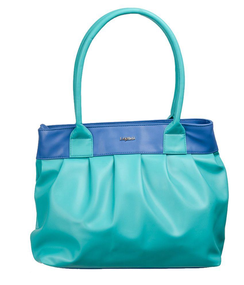 Lady World Turquoise Pu Shoulder Bag