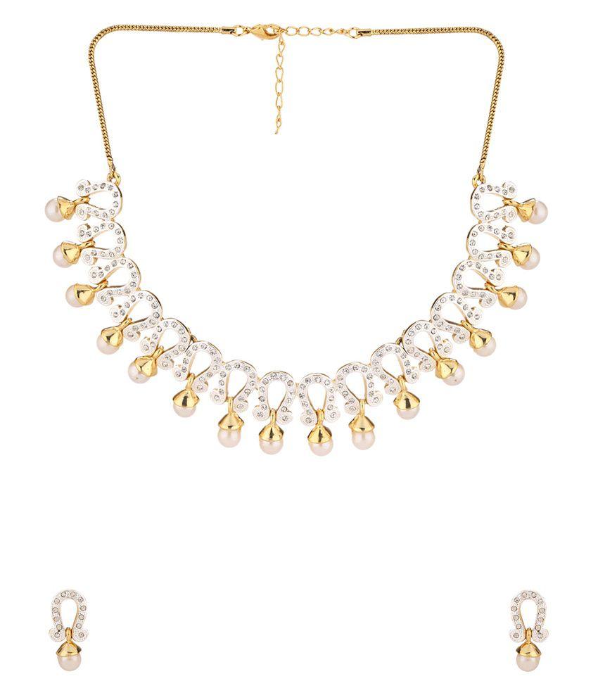 Voylla Golden Pearl Necklace Set