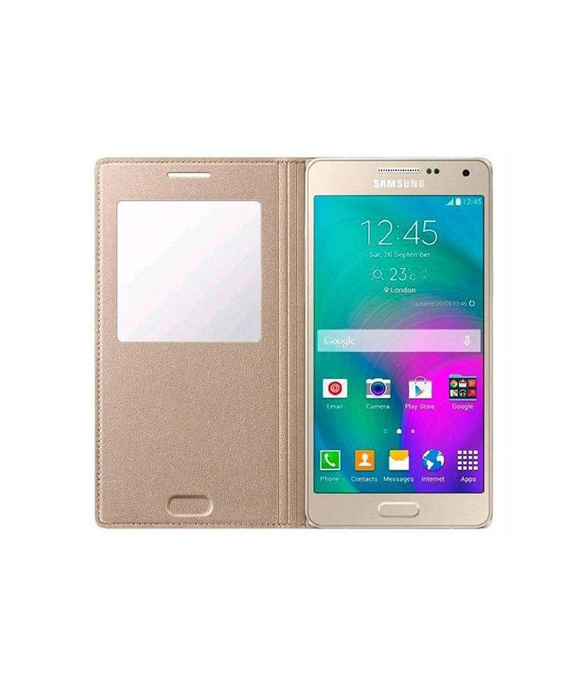 Samsung Flip Cover For Smasung Galaxy J7 - Golden