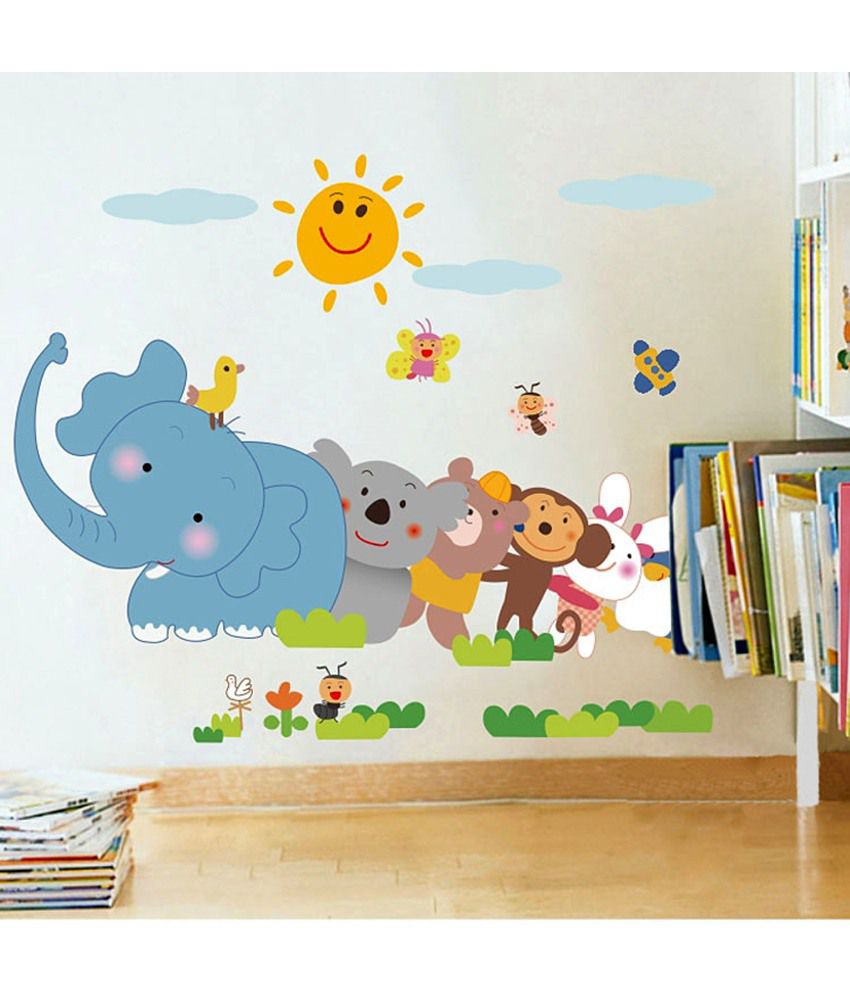 Stickerskart Jungle Cartoon Cute Animal Elephant Monkey Panda Under Sun Wall Sticker