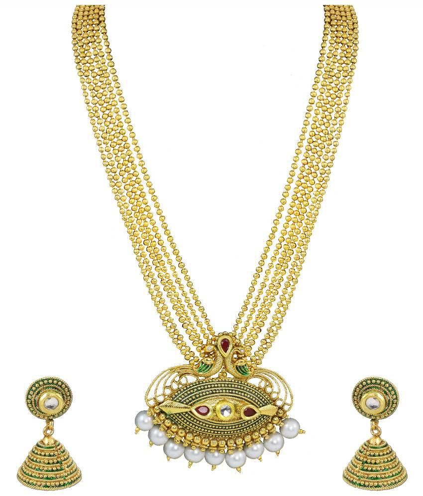 Zaveri Pearls Saundarya Mor Haram Antique Necklace Set