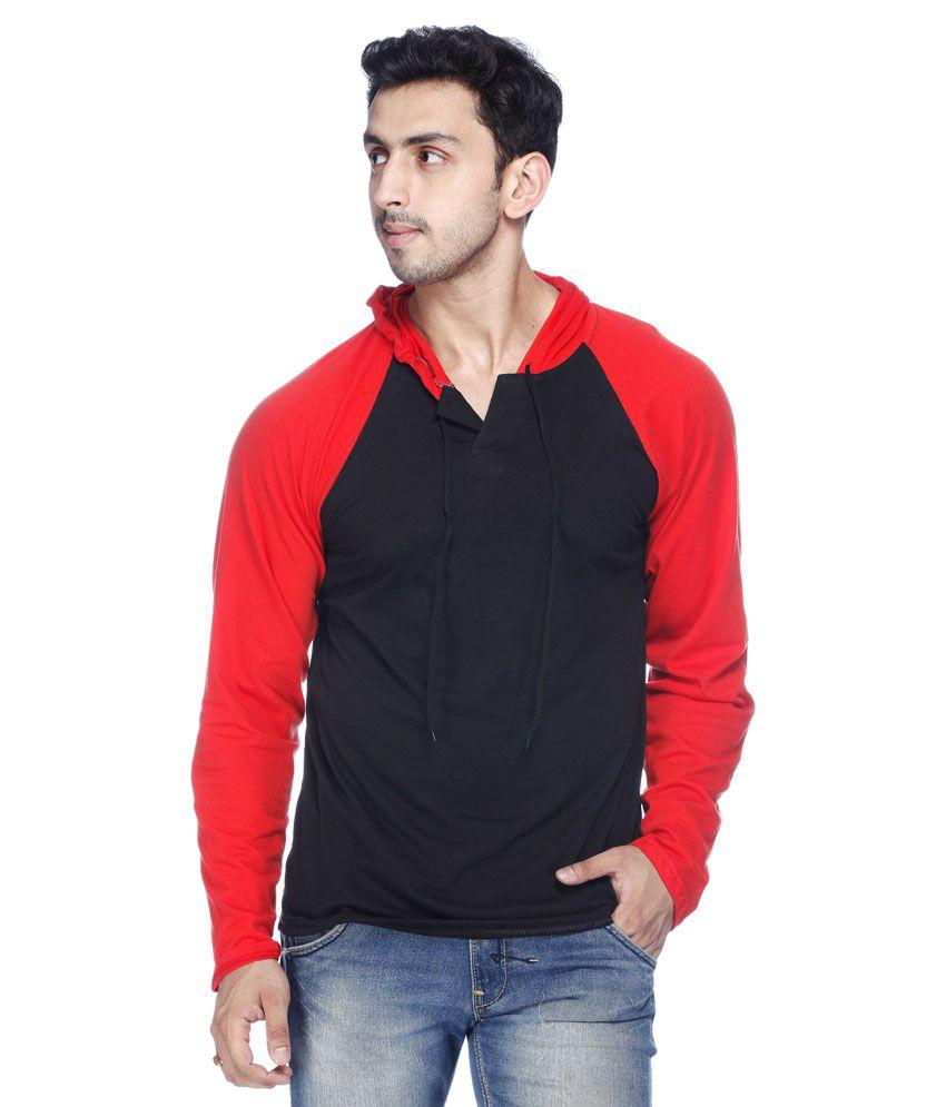 Demokrazy Black Cotton Blend Hooded T-shirt
