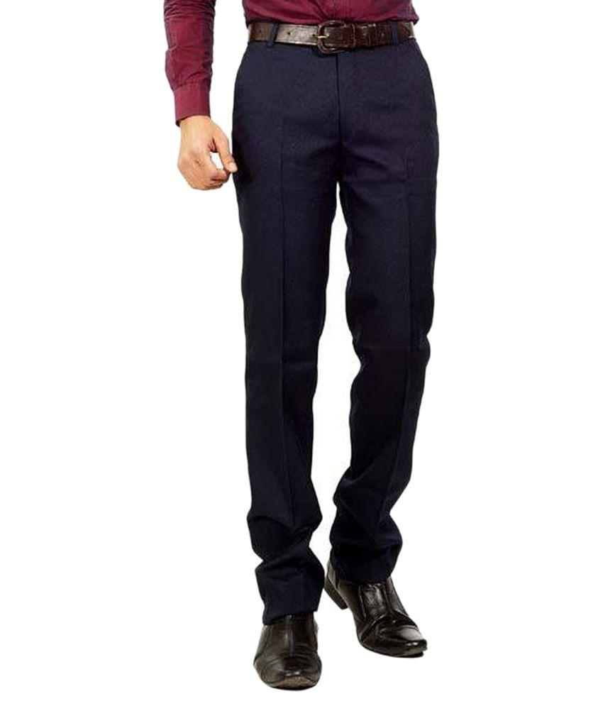 Shiksha Navy Regular Fit Formal Chinos Trouser