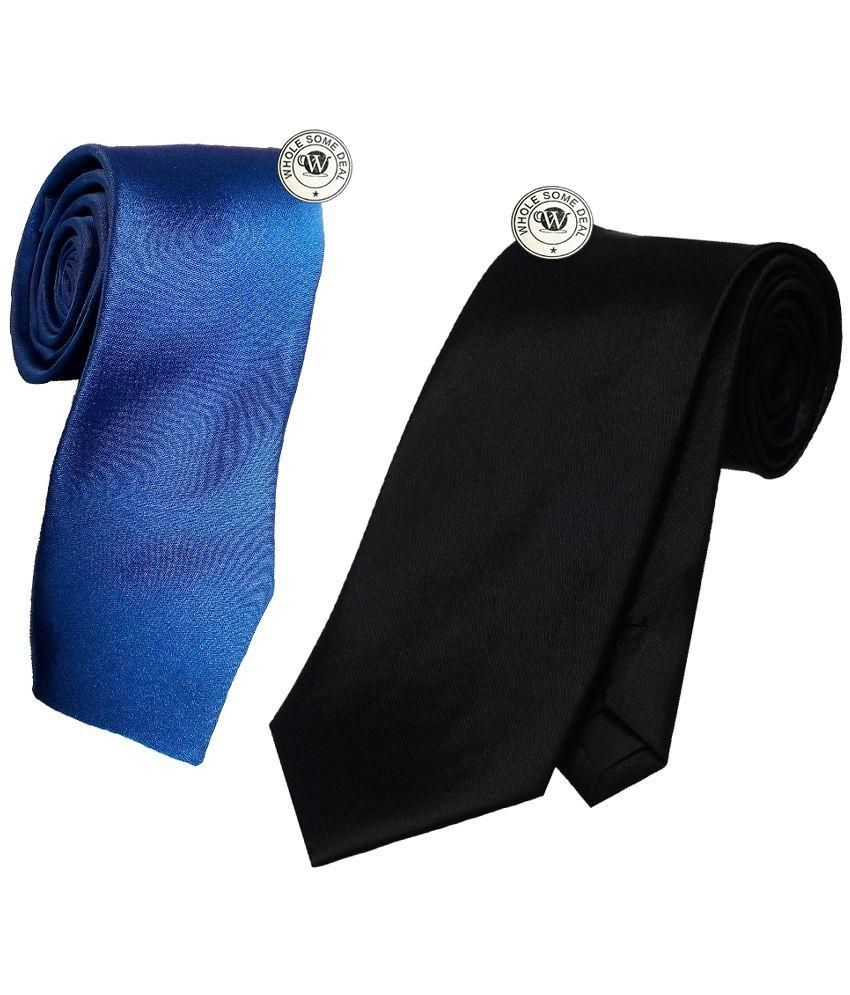 Wholesome Deal Black and Navy Blue Tie - Pack of 2