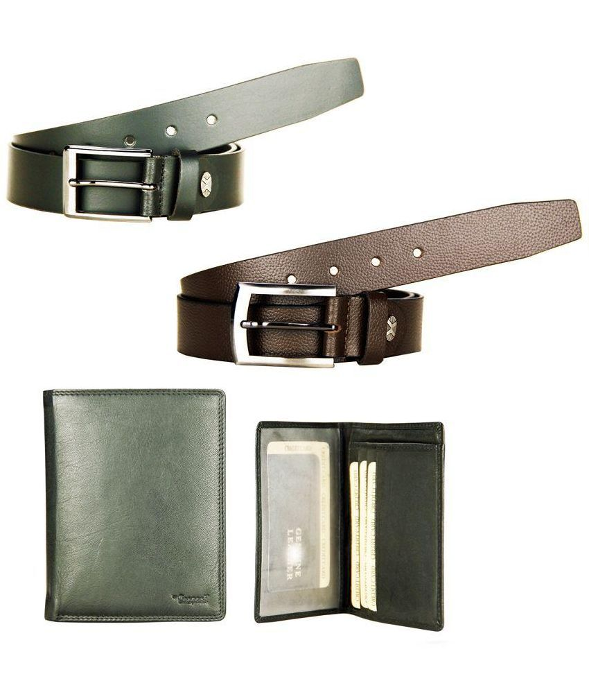 Goopash Brown And Black Leather Formal Belt With Wallet For Men