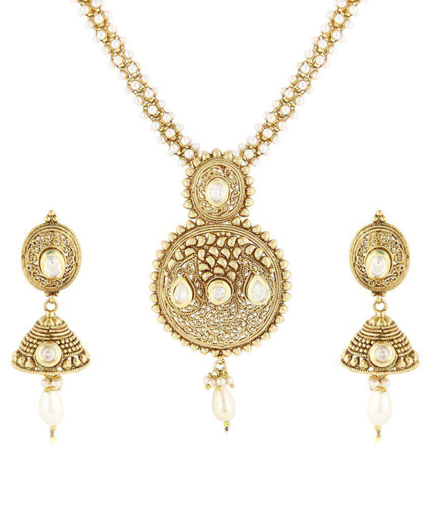 32f3a7898ba5c Jewels Galaxy Royal Gold Archaic Kundan Necklace Set With Pearl Mala