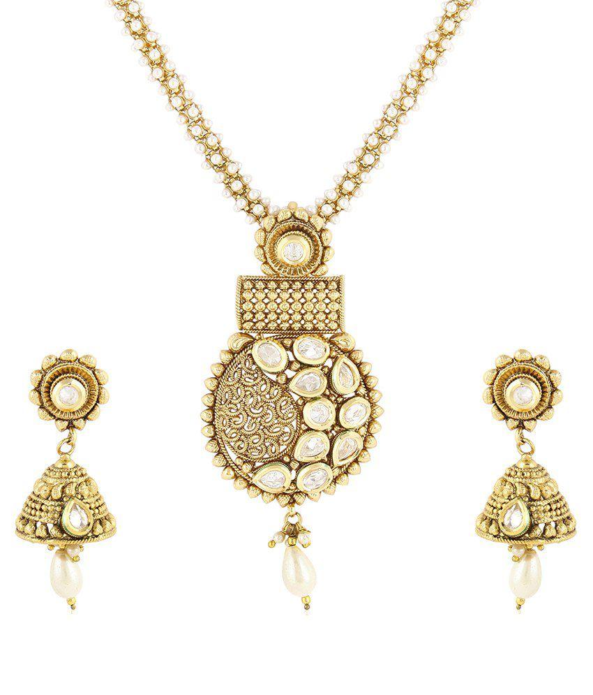 Jewels Galaxy Royal Gold Archaic Kundan Necklace Set With Pearl Mala