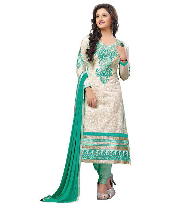 Sai Laxmi Fashion White Cotton Semi Stitched Dress Material