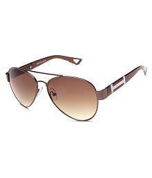 Adine Brown Metal Oval Sunglasses