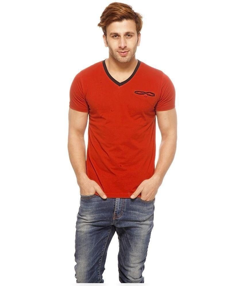 Gritstones Red Cotton T-Shirt