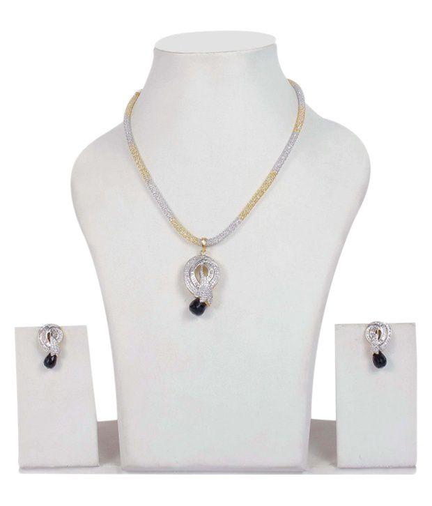 Much More White Designer American Diamonds Necklace Set