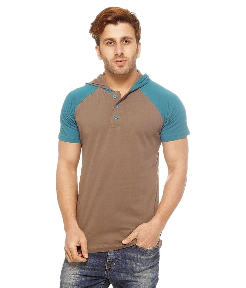 Gritstones Brown And Blue Cotton T-Shirt