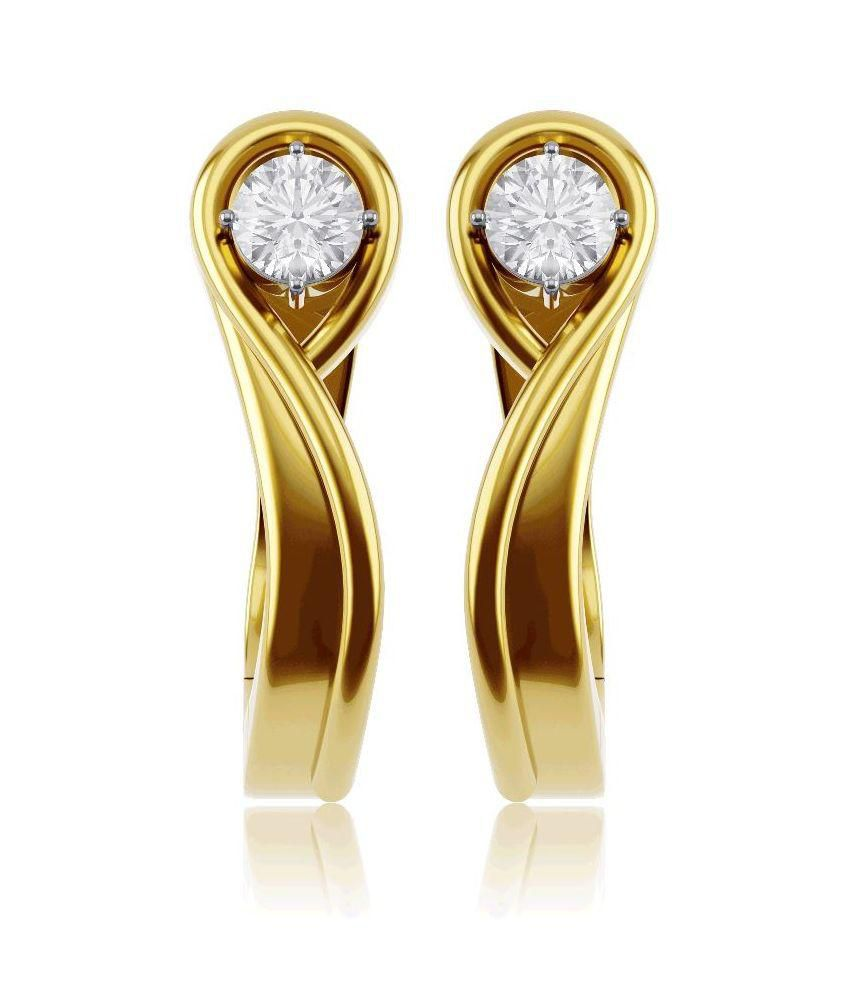 KIAH 18 KT Gold and Solitraire Diamond Abstract Design Hoop Earrings