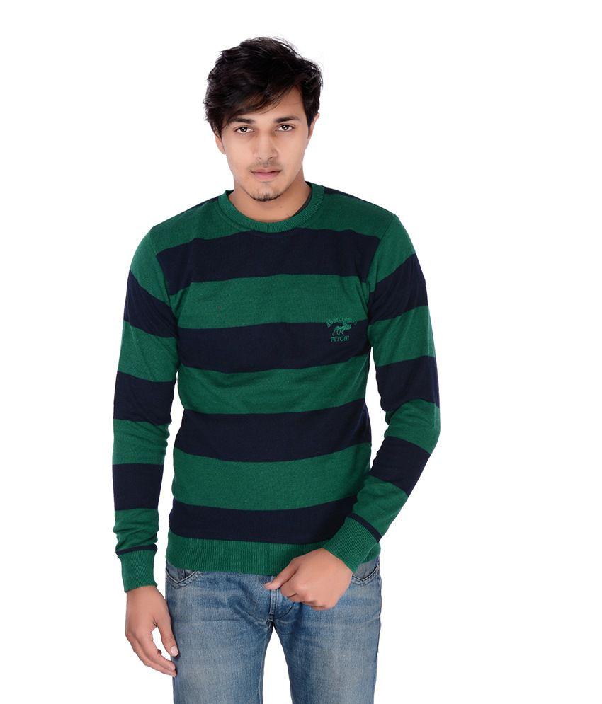 Teekraft Green And Navy Cotton T-shirt