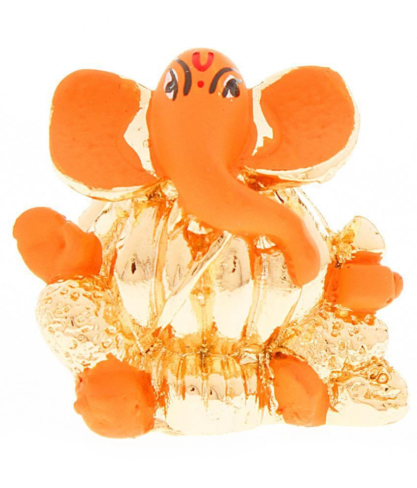 Veevi Orange and Golden Modak Lord Ganesh Statue