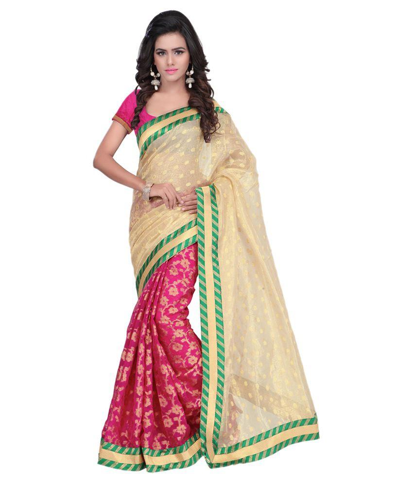 Azara Lifestyle Beige Silk Saree