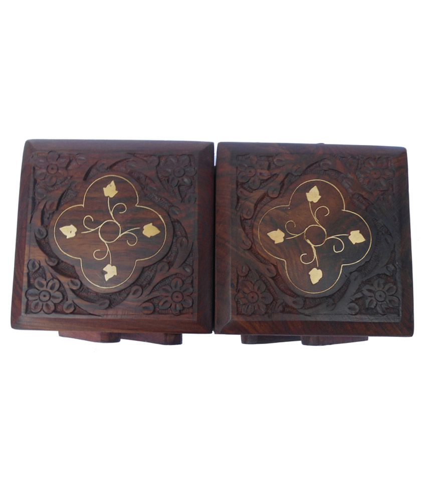 Handicraft Brown Sheesham Wood & Brass Carved Sliding Jewelry Box
