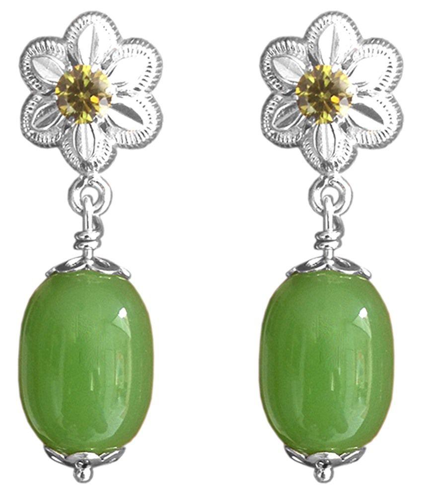 Milan Green & Silver 92.5 Sterling Silver Drop Earrings