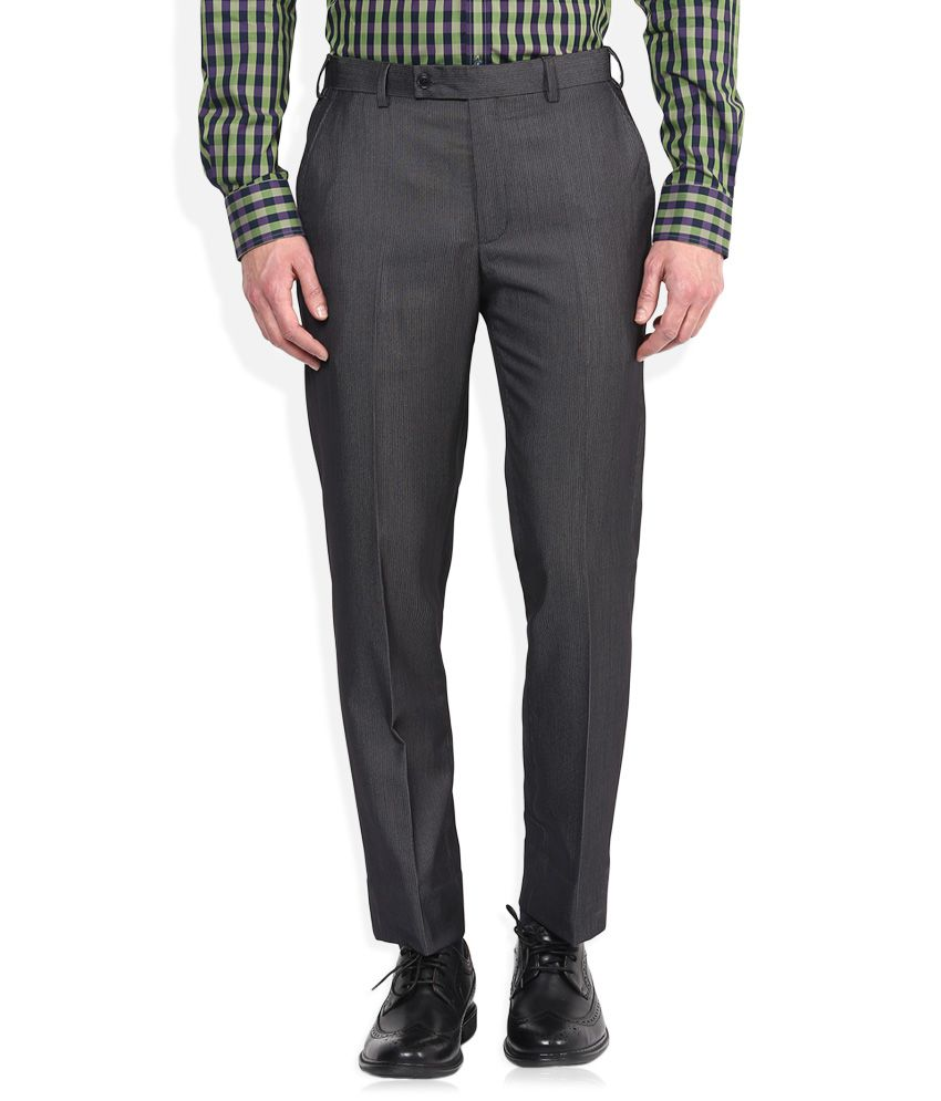 Park Avenue Grey Regular Fit Formal Trousers