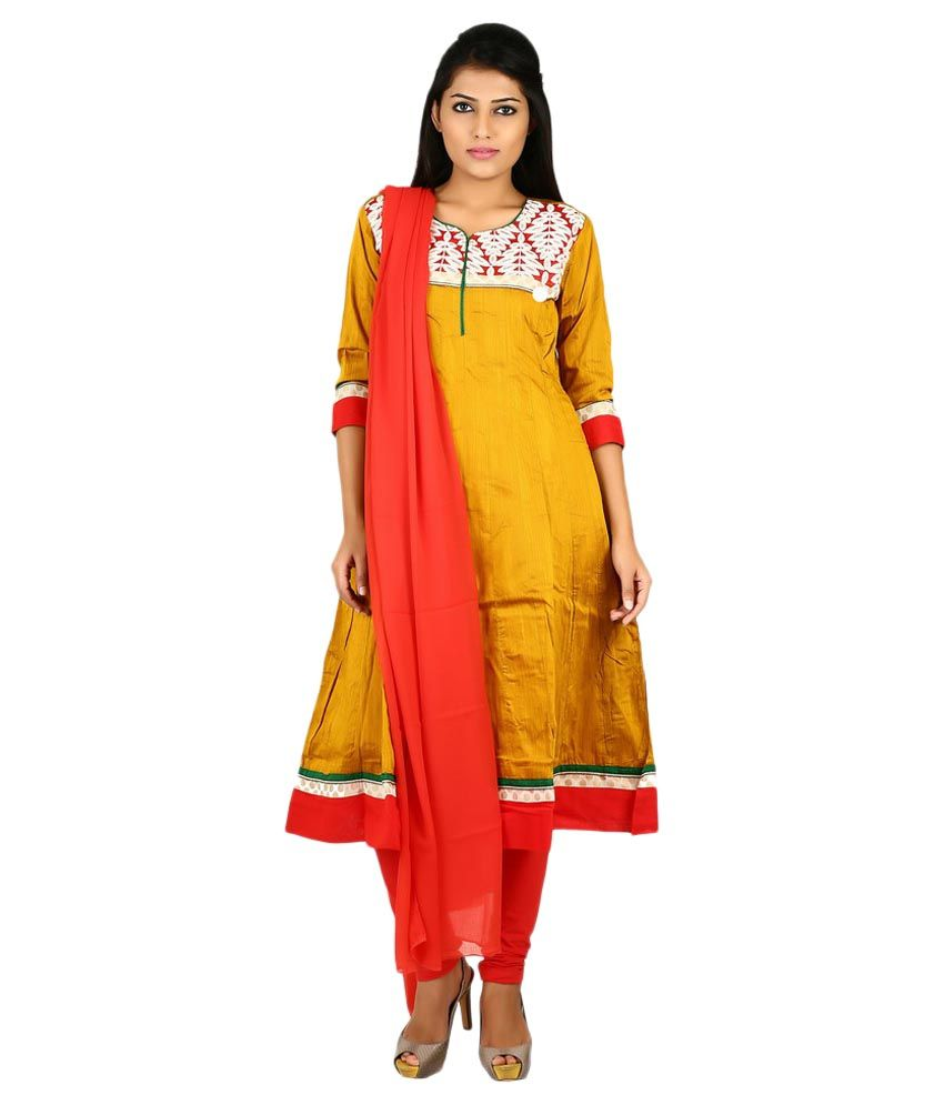 Span Yellow Silk Stitched Suit