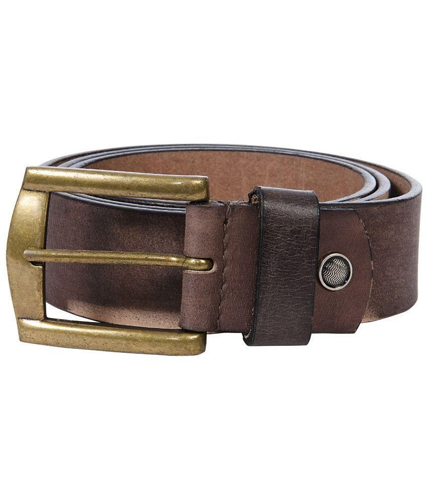 Vermello Brown Leather Casual Belt For Men