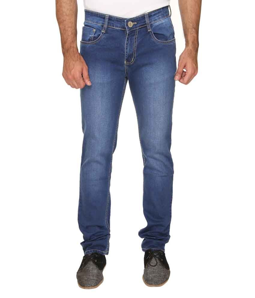 Weird Blue Cotton Blend Jeans