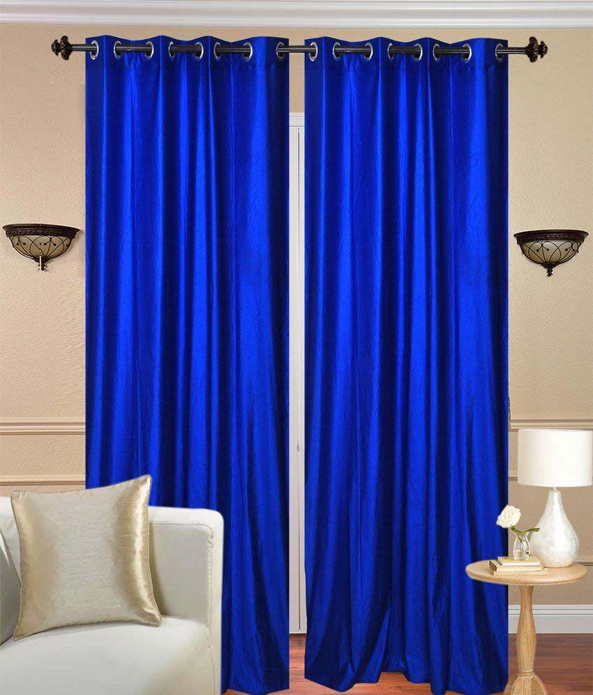 tanishka fabs blue polyester eyelet window curtain set of. Black Bedroom Furniture Sets. Home Design Ideas