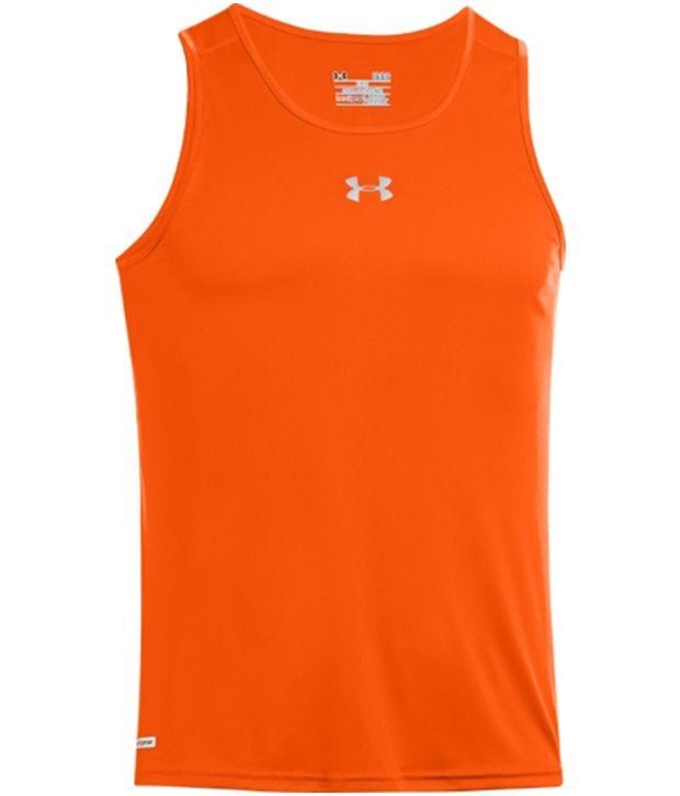 Under Armour Under Armour Orange Mens Heat Gear Flyweight Run Singlet