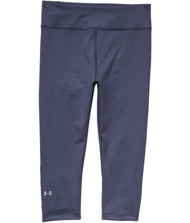 Under Armour Under Armour Purple And Blue Womens Heat Gear Alpha Stripe Compression Three Fourth (pack Of 2)
