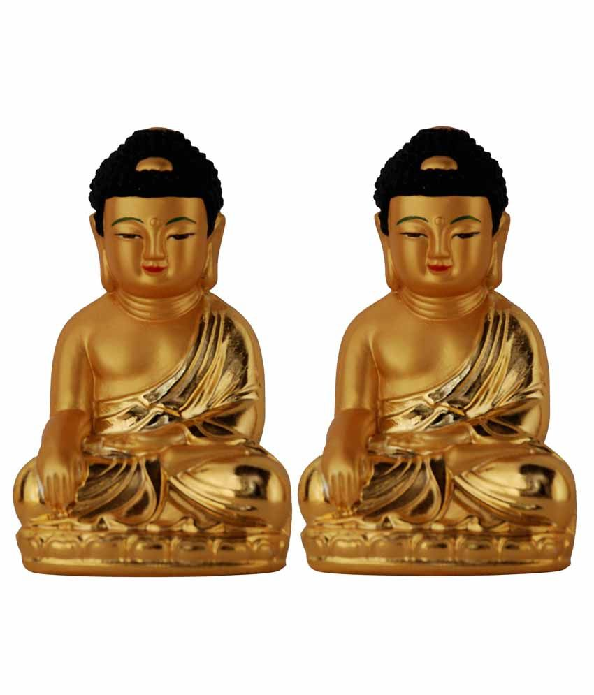 Surya. Glossy Meditating Gautam Buddha Show Piece - Set Of 2