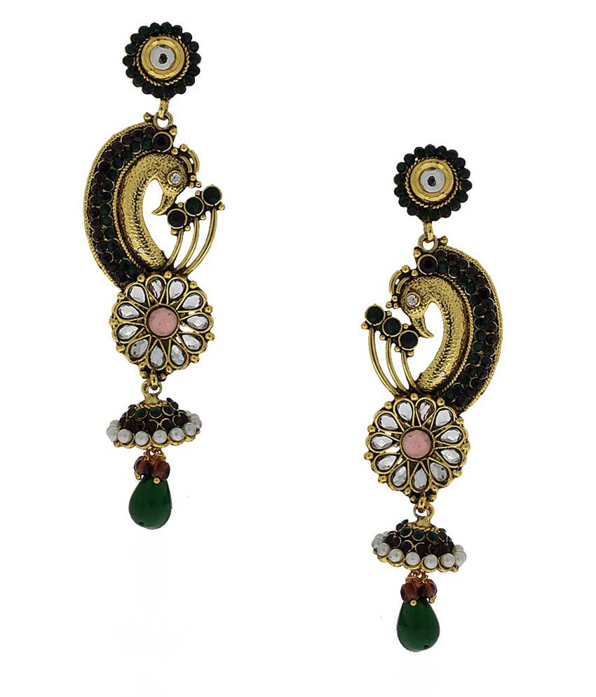 Anuradha Art Black Designer Jhumki Earrings