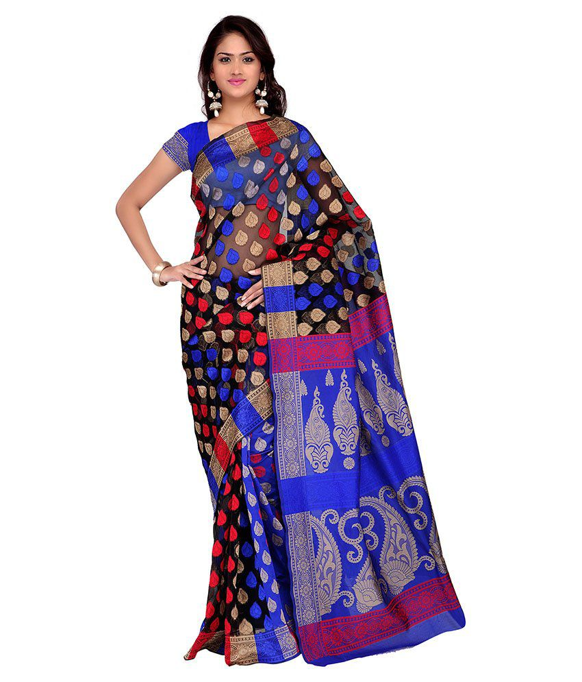 Apple Creation Blue Bhagalpuri Silk Saree