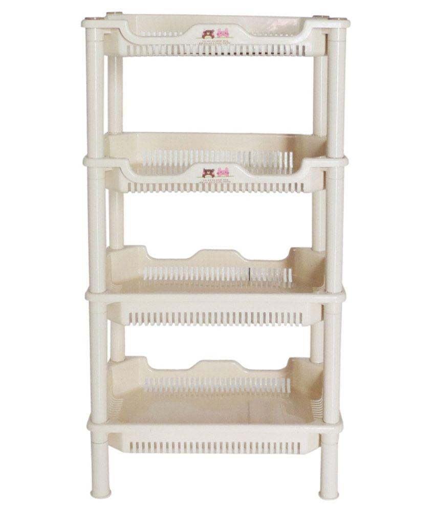 buy pindia 4 tier plastic shelf storage rack for kitchen bathroom rh snapdeal com