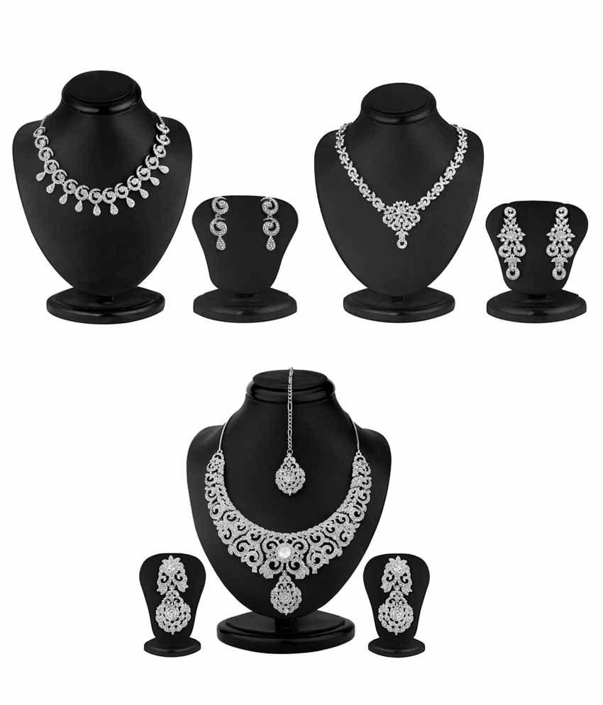 Sukkhi Combo Of 3 White Alloy Necklace Set