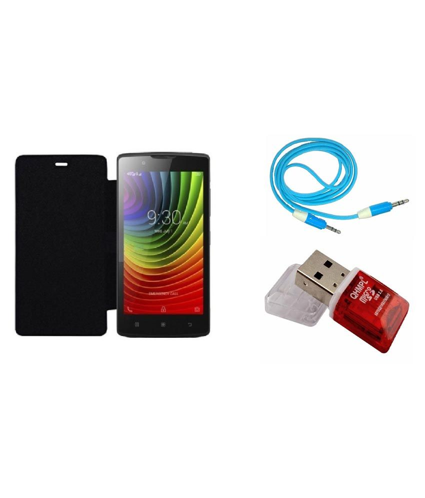 Ags Flip Cover For Micromax Q372-black With Aux Cable & Card Reader